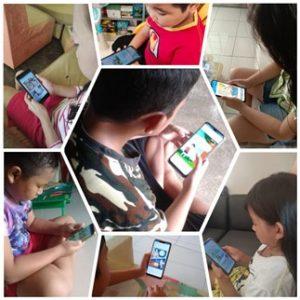 Siswa dan siswi Pipit Novalya saat belajar di rumah dengan memanfaatkan aplikasi Kipin School 4.0